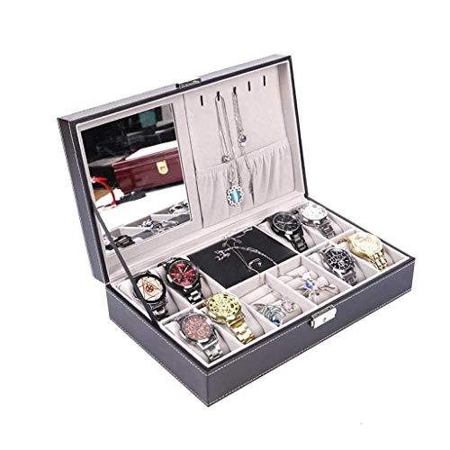LIYONG Caja de joyería 8 Reloj Mostrar Caso Organizador Joyería Caja de Almacenamiento Negro PU Cuero con Espejo y Bloqueo HLSJ