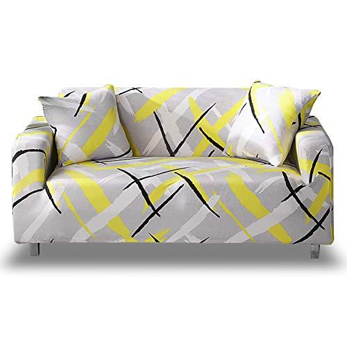 HOTNIU Elastischer Sofa-überwurf, Antirutsch Stretch Sofabezug, Sofahusse, Sofaüberzug, Sofa Abdeckung, Hussen für Sofa Couch Sessel in Verschiedene Größe und Farbe(4 Sitzer, Gemustert #My)