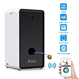 AONESY Dog Camera Treat Dispenser 1080P HD WiFi Remote Pet Camera with Night Vision and Two Way Audio Communication Designed for Dogs and Cats App Control Treat Tossing