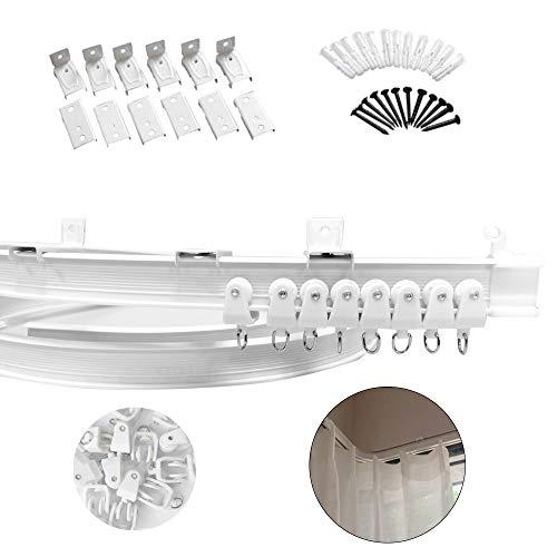 Xnuoyo Deckenvorhangschiene, Etagenbett Vorhänge RV Gardinenschiene, Vorhang-Gleitschiene für Gerade und Erkerfenster, Biegbare Deckenschiene Deckenhalterung für Gardinenschiene mit Schienensystem(5m)