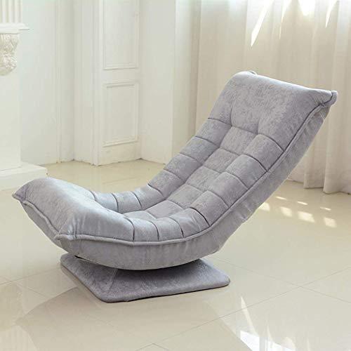 TGTGH Sillas de camping Tumbonas de jardín Silla plegable Silla de piso de rotación de 360 grados 3 ajustable asiento sofá silla mejoró la columna vertebral (color, gris), gris