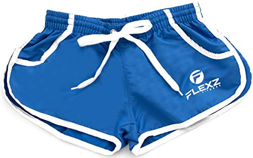 FlexzFitness Men's Solid Gym Workout Shorts - Fitted Bodybuilding Running Training and Jogging Shorts (5 Colors) Blue