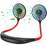 Personal Neck Fan - Hands Free Cooling Fan with Strong Airflow Dual Wind Head, USB Rechargeable Mini Portable Fans with LED Light for Travel Office Home Sports
