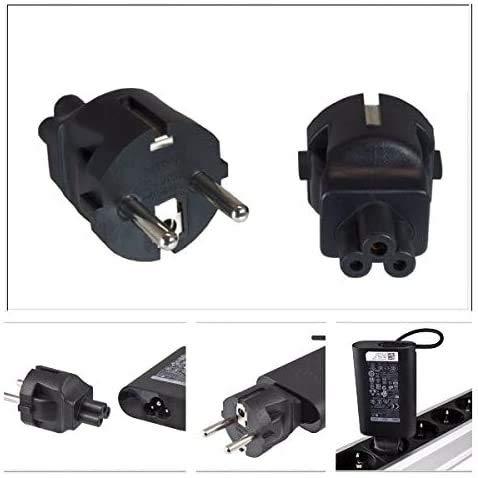 DINIC Stromadapter, Netzadapter Schutzkontaktstecker CEE 7/7 auf C5 Stecker, Adapter (1 Stück, schwarz)