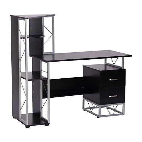 HOMCOM Bureau Informatique Design Industriel 133L x 155l x 123H cm Multi-rangements bibliothèque 3 étagères + 2 tiroirs MDF métal MDF Noir