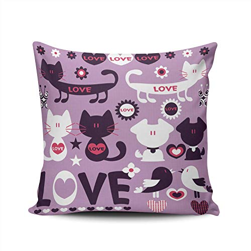 N / A Cushion Cover Cute Cat Dog And Bird Ch Decorative Christmas Pillowcase Home Cushion Case Pillow Cover Square Throw Pillow Cover Two Sides Hidden Zipper Sofa 45X45Cm Printed