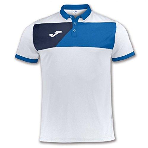 Joma Polo Crew II Blanco-Royal M/C Polo de Sport Unisexe Blanc, Mixte, Blanc-Bleu Roi, 4XS