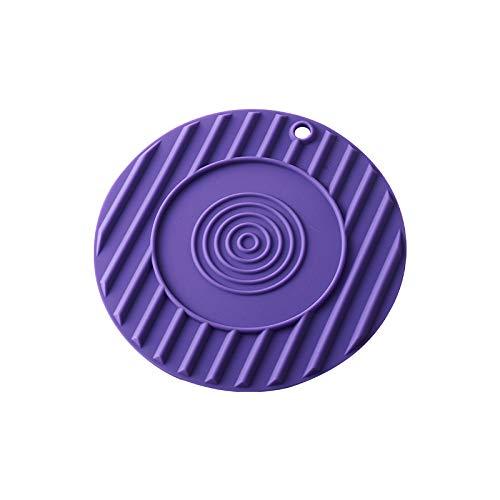 ZLDDE Rondelles Multi-usages en Silicone 4 Rondes - Manchons de Cuisine pour ouvre-boîtes, Porte-cuillère, Mitaines de Four Coaster Violet