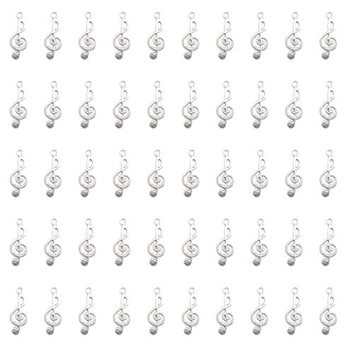 Ruwado 50 Pcs Musical Note Charm Metal Music Symbol Vintage Elegant Chic Instrument Pendant Beads for Craft Art Supplies Jewelry Making Finding DIY Necklace Bracelet Earring (Silver)