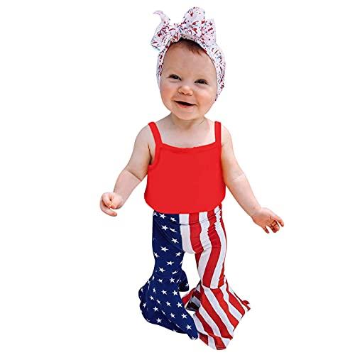 Julhold Conjunto de trajes para el día de la independencia para bebés recién nacidos y niñas de verano con bandera, diseño de estrellas, rayas y pantalones acampanados + juegos de diadema