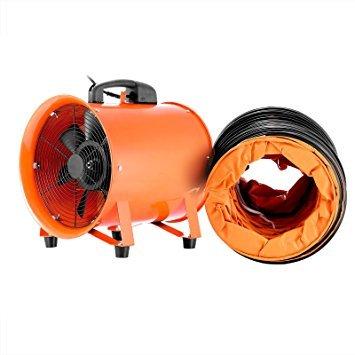 Mophorn Ventilador Profesional para Construcción 0.45HP Ventilador de Piso Industrial 220 V Ventilador de Tambor 1520CFM con Tubo Flexible