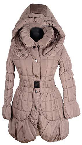 Grisodonna Style Damen Winter Jacke Steppjacke Kapuze Schal Kragen Parka Ballon Mantel Steppmantel 36 38 40 42 S M L XL Coat Beige Anorak mit Gürtel (38)
