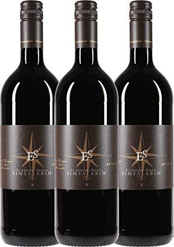 VINELLO 3er Weinpaket Rotwein - Cuvée Simsalabim 1,0 l 2018 - Ellermann-Spiegel mit Weinausgießer | trockener Rotwein | deutscher Wein aus der Pfalz | 3 x 1,00 Liter