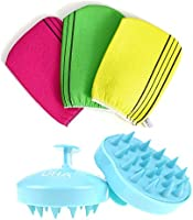 Korean Exfoliating Bath Washcloth 3 pcs with Hair Washing Brush, Hair Comb and Body Scalp Massager for Hair SPA...