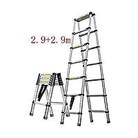SUNTAOWAN 体重150キロベアリングラダー、アルミ合金の家庭用ヘリンボーンテレスコピックラダー、ポータブル折りたたみエンジニアリングはしご、 (Color : 2.9+2.9m)