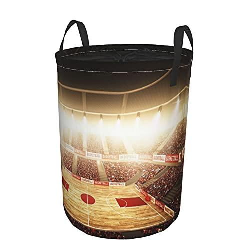 Cesto de lavandería redondo Grande con asas,cancha de baloncesto,cesto de lavandería plegable impermeable con cordón,21.6'X16.5'