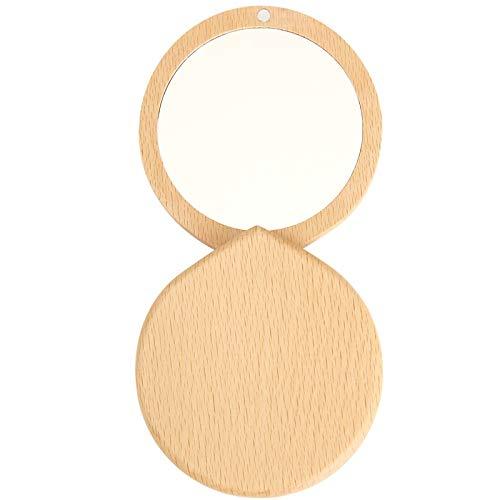 HEQIE-YONGP Decoración del hogar De Estilo japonés 2pcs de Madera sólida del Espejo portátil, Las niñas Maquillaje, Viaje Espejo, Plegable de Bolsillo Mini Espejo Decoración de Pared