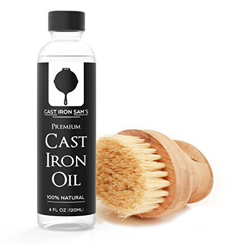 Cast Iron Seasoning Oil and Natural Wood Scrubber Brush Cleaning Kit - Premium Quality