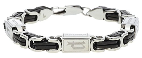 Police Armband Urban Herren Schmuck Edelstahl Armkette Schwarz PJ24654BSB/01-L