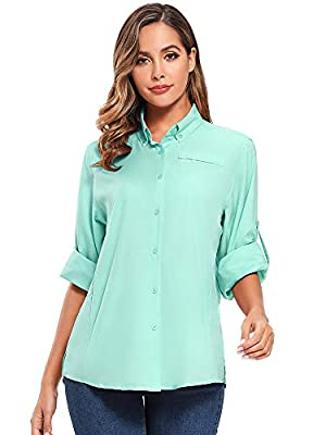 Women's Quick Dry Sun UV Protection Convertible Long Sleeve Shirts for Hiking Camping Fishing Sailing (5024 Blue, Small)