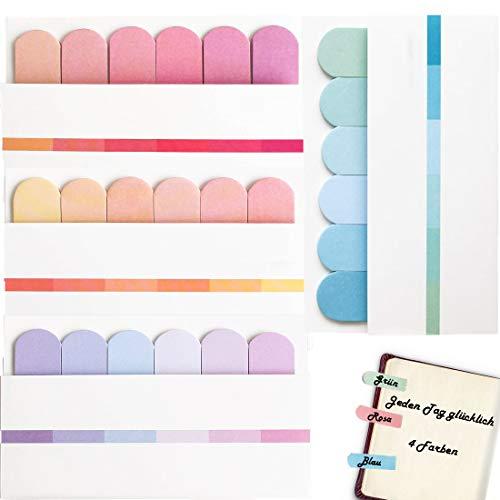 Seite Marker, Klebemarkierung, selbstklebende Haftnotizzettel, bunt zettel farbig, Lesezeichen Text für Seitenmarkierung, Notizbuch, Büro und Lernen - 4 Farben