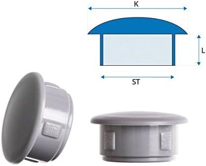 25 Stck Abdeckstopfen 13x10 mm Anthrazit Blindstopfen Kunststoff Verschlusskappe