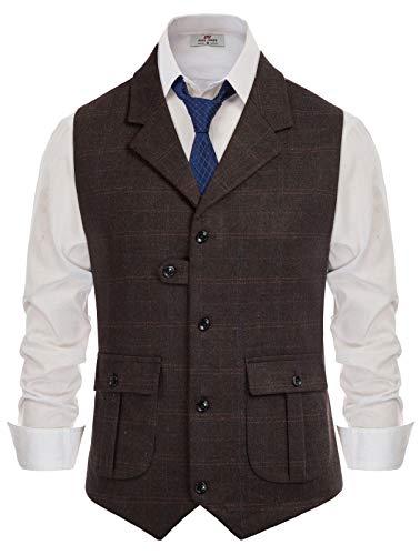 PJ PAUL JONES Men's V-Neck Suit Vest Casual Slim Fit Dress Vest Waistcoat Dark Coffee Plaid, Large