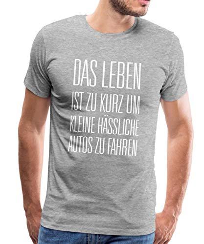 Leben zu Kurz für Kleine Autos Männer Premium T-Shirt, L, Grau meliert