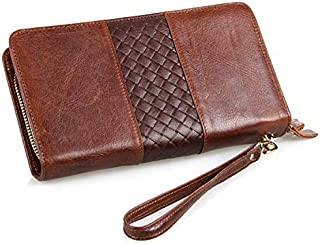 Leather Bag Mens Men's Wallet Leather Clutch Bag Clutch Bag Business Clutch Bag with Hand Bag High Capacity (Color : Brown, Size : S)