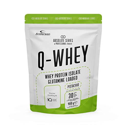 Proteine Whey isolate 90% con Glutammina e Vitamina B- Q-WHEY, 900 g per 30 dosi di Absolute Series. (Pistachio)