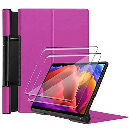 Tasch HYMY Funda para Lenovo Yoga Pad Pro + 2Pcs Vidrio Templado Lenovo Yoga Pad Pro Protectores Pantalla, Protector de Pantalla with Flip Cover Case Carcasa-Purple