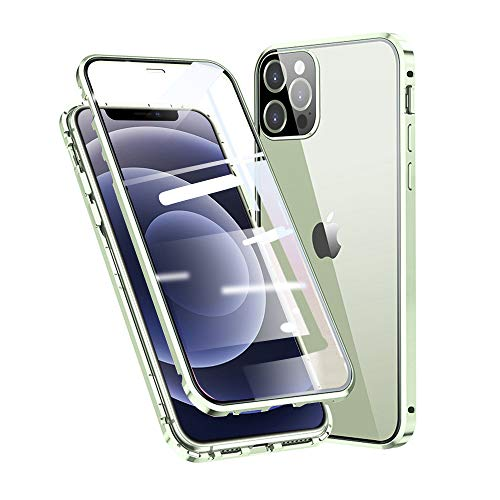 Jonwelsy Cover per iPhone 12 PRO Max, Adsorbimento Magnetico Paraurti in Metallo con 360 Gradi Protezione Case Doppi Lati Trasparente Vetro Temperato Flip Custodia per iPhone 12 PRO Max (Verde)