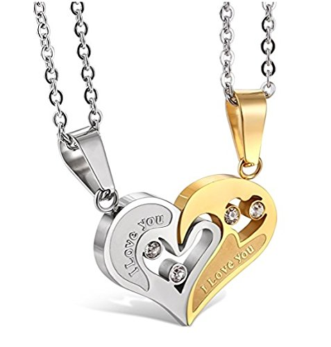 Yellow Chimes I Love You Engraved Crystal Joining Heart 2 Piece Unisex Couple Pendants Pair for Girls and Boys