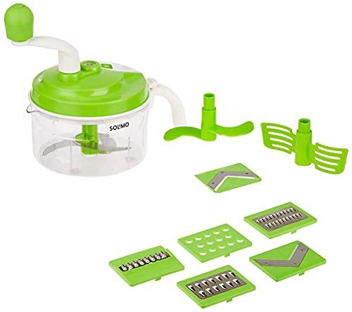 Amazon Brand - Solimo 10-in-1 Manual Food Processor (Atta Maker,Vegetable Chopper,Slicer & Grater)