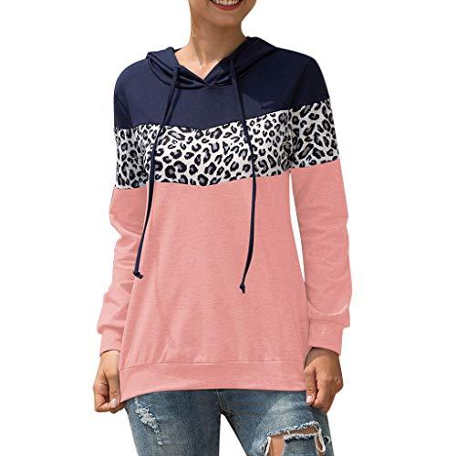 DQANIU Frauen-Bluse, Frühling/Herbst der Frauen beiläufige im Freien Lange Hülsen-O Ansatz-Leopard-mit Kapuze Strickjacke-beiläufige Bluse übersteigt Sweatshirts Pullover