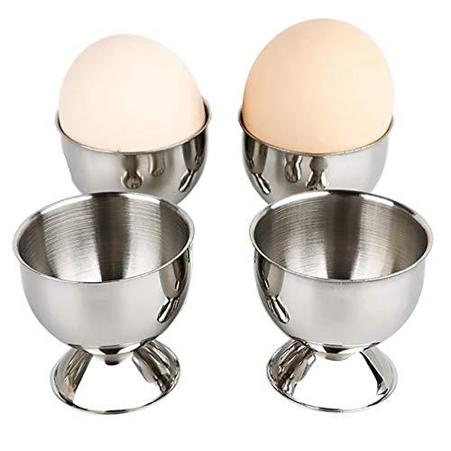 fuxunamz 4 Stück Eierbecher, Edelstahl Eihaltern, Eier Ständer, Eier Becher, Entenei Tasse, Hühnereierbecher, Küchenwerkzeug für Frühstücks, Abendessen