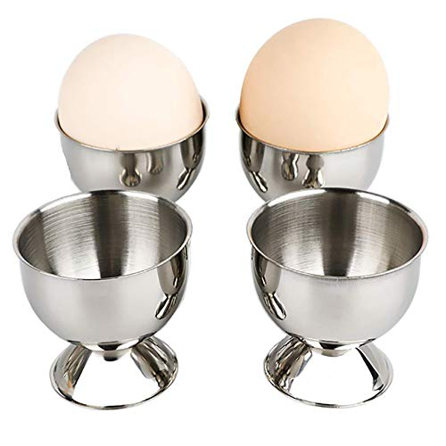 4 hueveras de acero inoxidable, soporte para huevos, huevera, taza de pato, vaso para huevos de gallina, herramienta de cocina para desayuno, cena