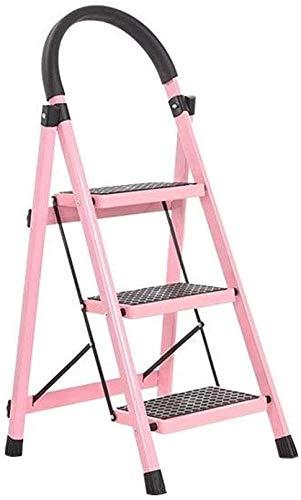 Reposapiés plegable hecho de aleación de aluminio, taburete portátil multifuncional para escaleras, plegable, ahorro de espacio, adecuado para el hogar y la oficina (rosa)