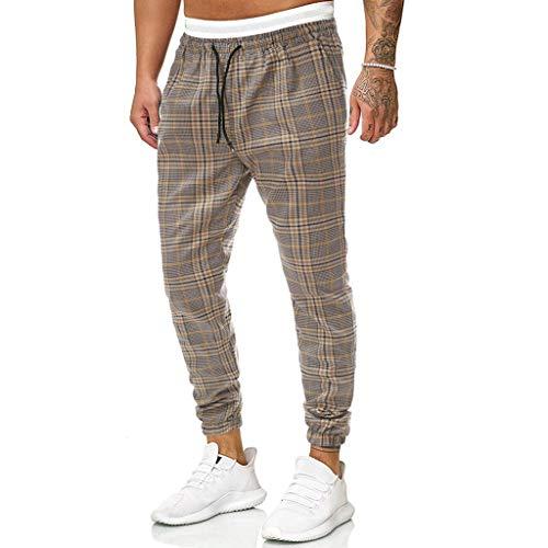 KEERADS Herren Hose Fashion Chino kariert gestreift mit Gummibund Herren Chino-Hose Nadelstreifen-Hose Side-Stripe Anzugs-Hose