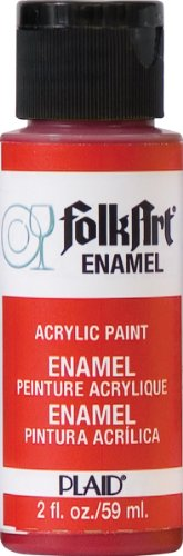 FolkArt Enamel Glass & Ceramic Paint in Assorted Colors (2 oz), 4006, Engine Red