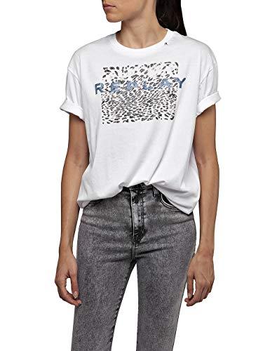 Replay Damen W3232B.000.22536P T-Shirt, Weiß (Optical White 1), X-Small (Herstellergröße: XS)