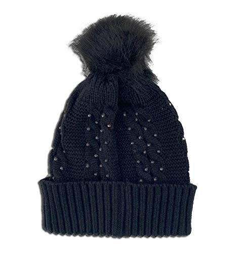 Novadis Berretto invernale da donna, accessorio invernale per il freddo, con strass neri