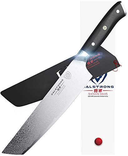 """DALSTRONG Chef's Knife - Shogun Series - Damascus - Japanese AUS-10V Super Steel - Vacuum Treated (8"""" Tanto Chef Knife, Black Handle)"""