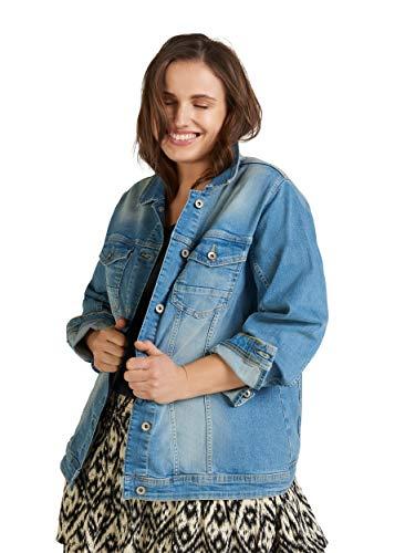 Zizzi Damen Große Größen Jeansjacke Kragen Knöpfe Denim Übergangsjacke 42-56