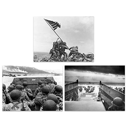 US Military Victory Japan World War 2 Iwo Jima D-Day Normandy Home Decor Wall Large Art Poster Pack of 3 Militär Sieg Welt Krieg Zuhause Deko Wand Große Kunst