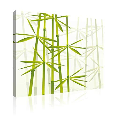 Akustikbild AbsorPic Grafik Motiv Bambus - Farbe Grün |Premium Breitband Schall Absorber verbessert die Raumakustik | deutlich weniger Nachhall | 50 x 50 x 3cm - Made in GERMANY, Köln