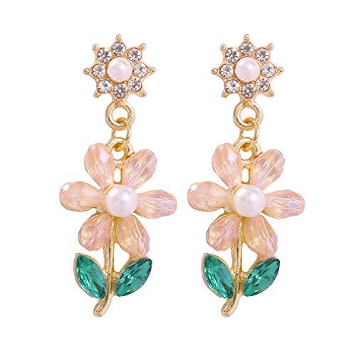 YAZILIND pedrería gota pendientes moda pequeña aleación de flores colgantes mujeres fiesta de cumpleaños joyería (rosa)