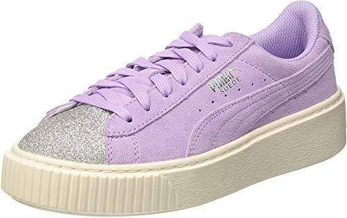 Puma Suede Platform Glam Jr, Scarpe da Ginnastica Basse Unisex – Bambini, Viola Silver-Purple Rose, 37.5 EU