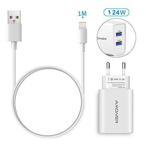 Amoner Ladekabel für iPhone Lightning Kabel und USB Ladegerät Stecker Netzteil,2Pack-1M iPhone Ladekabel und 24W 2-Port USB Ladegerät.