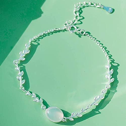 Friend Charm Bracelet, Feng Shui Wealth Bracelet para Mujer, Natural, Blanco, ágata, Plata esterlina, Hoja, Pulsera, Ajustable, Fuerte, talismán, Amuleto, para atraer, Riqueza, Protecci